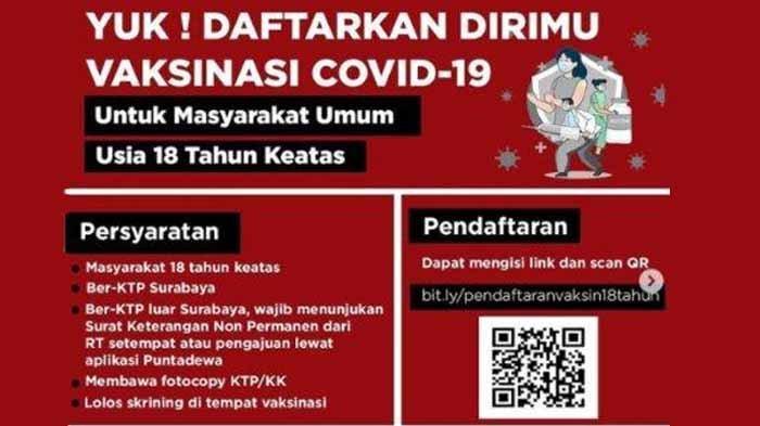 Daftar Online Suntik Vaksin Covid-19 di Surabaya hingga Jumat 24 Juni, Ini Cara, Syarat dan Lokasi