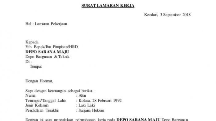 Contoh Surat Lamaran Kerja Menggunakan Bahasa Indonesia yang Benar, Hindari 10 Kata-kata Ini