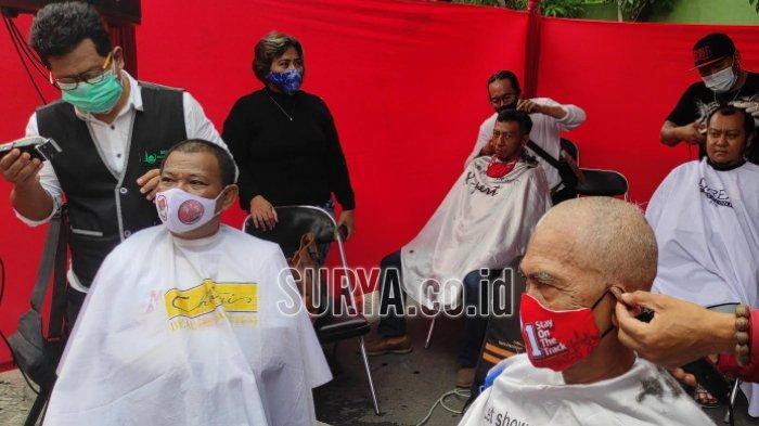 Eri-Armuji Menang Quick Count Pilwali Surabaya 2020, Kader PDI Perjuangan Cukur Massal