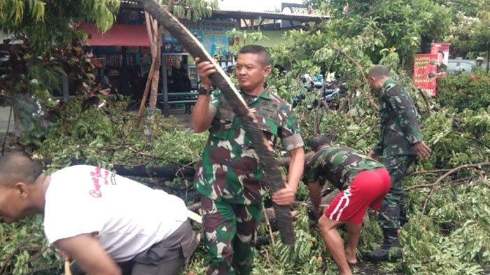 Dandim Lamongan Gotong Royong Singkirkan Pohon Tumbang di Desa Sidomulyo