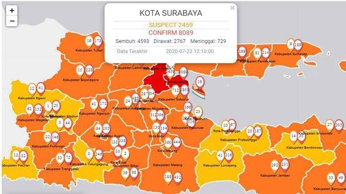 Update Virus Corona Di Surabaya Dan Jatim 24 Juli 2020 Pasien Sembuh 4593 Total Covid 19 8089 Surya