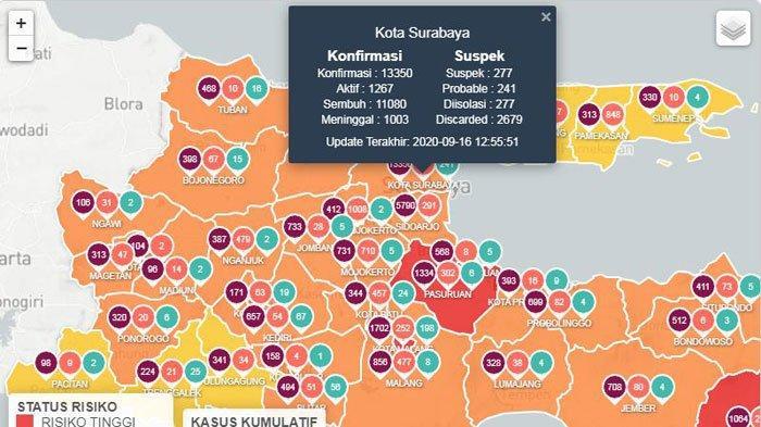 data lengkap kasus virus corona atau COVID-19 di Kota Surabaya hari ini, Kamis 17 September 2020
