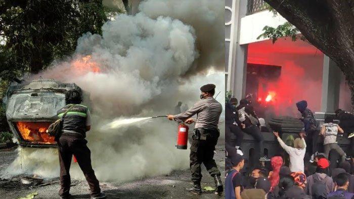 VIDEO Demo Tolak UU Cipta Kerja di Malang Ricuh: Honda CRV Dibakar, Petasan dan Bom Molotov Dilempar