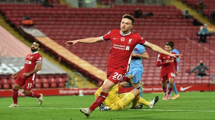 Diogo Jota yang baru masuk pada menit 70 bersama Xherdan Shaqiri berhasil mengamankan 3 poin penuh bagi Liverpool, Minggu (1/11/2020)