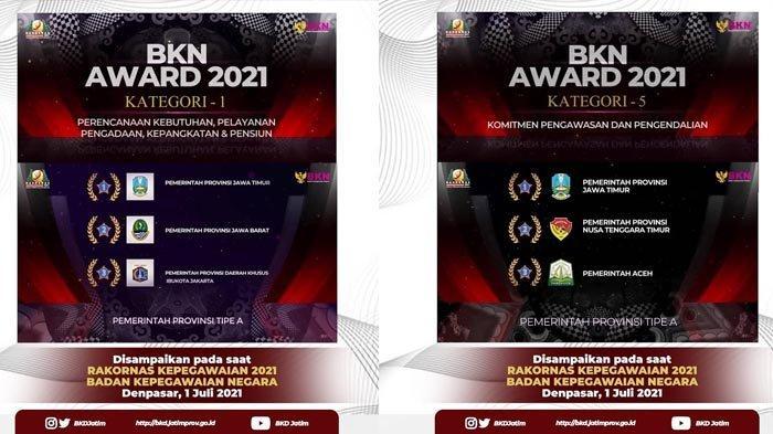 Borong Dua Penghargaan BKN Award 2021, Gubernur Khofifah: Ini Buah Kerja Keras Seluruh ASN Jatim