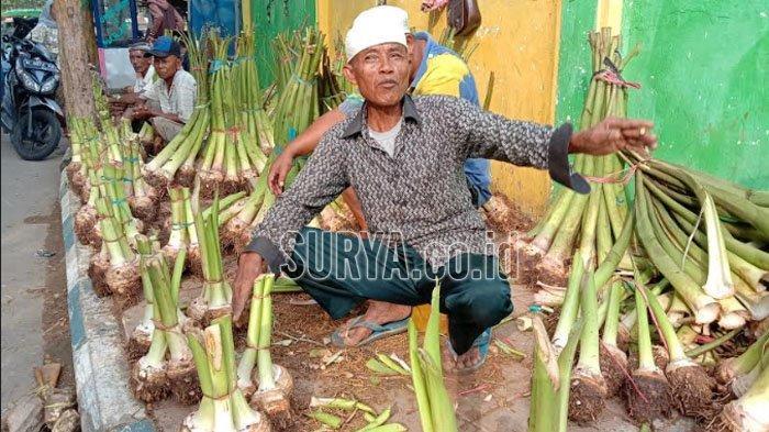 Di Pasar Kolpajung Pamekasan, Harga Ubi Talas Melonjak Bikin Omset Pegadang Menurun