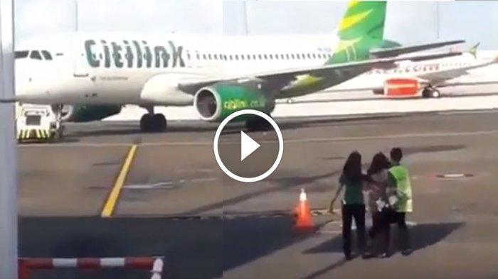 VIDEO Viral Emak-emak Kejar Pesawat Citilink yang Hendak Lepas Landas dari Bandara