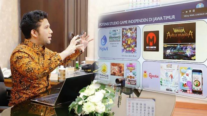 Wagub Emil Pamerkan Karya Game Lokal Jatim saat Diundang Luhut Binsar Pandjaitan dalam Rakor Virtual