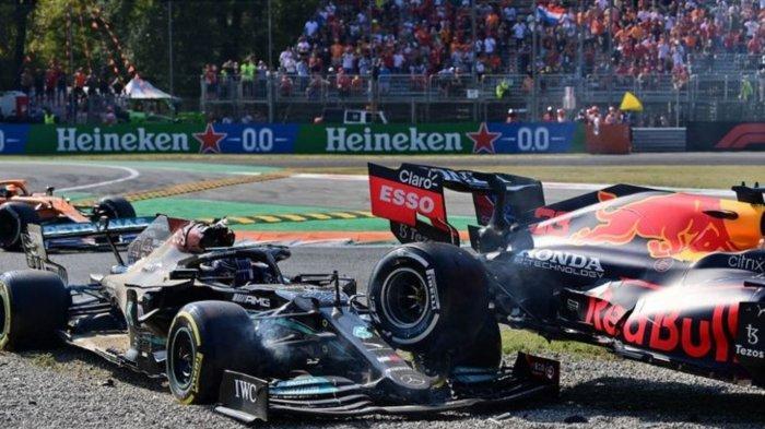 F1 GP Italia 2021: Insiden kecelakan Lewis Hamilton dan Max Verstappen, Minggu (13/9/2021)