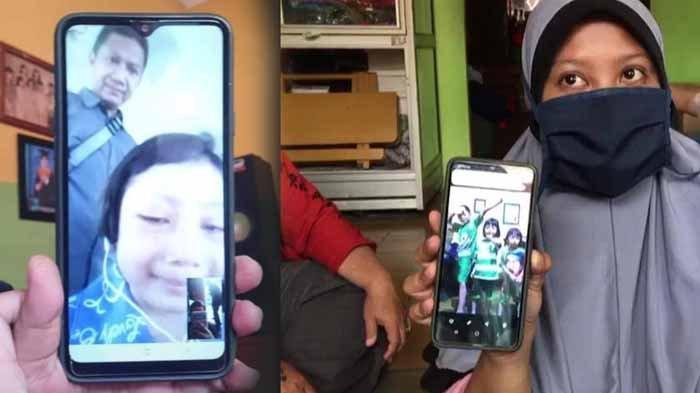 Ara melalui video call dan ibunya, Safrina. Fakta lengkap bocah 7 tahun hilang itu terungkap setelah ditemukan di Pasuruan diajak bbuhdenya, Sabtu (27/3/2021).
