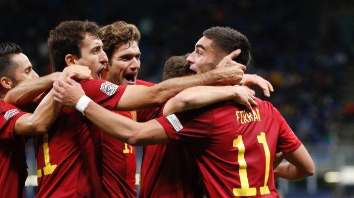 Ferran Torres saat merayakan golnya ke gawang Italia