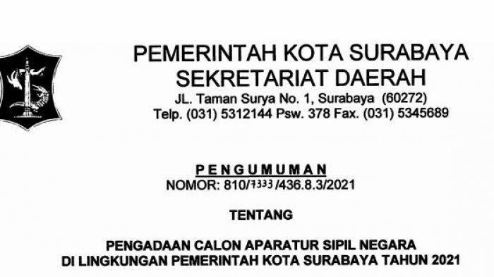 Link Pengumuman Formasi CPNS 2021 Pemkot Surabaya, Beserta Syarat dan Tata Cara Pendaftaran