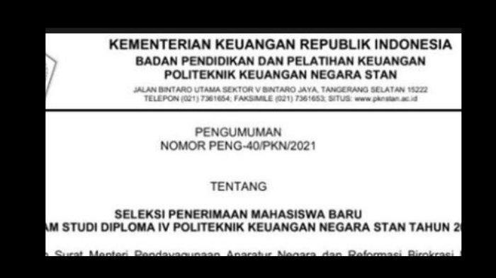 Formasi Sekolah Kedinasan PKN STAN 2021, Berikut Biaya dan Cara Daftar di spmb.pknstan.ac.id