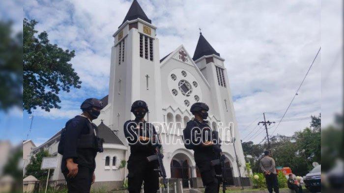 Jelang Paskah, Seperti Ini Kesiapan Pengamanan Gereja Katedral di Kota Malang