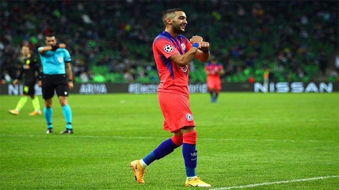 Hakim Ziyech mencetak gol pertama berseragam Chelsea saat melawan Krasnodar di Liga Champions, Kamis (29/10/2020).