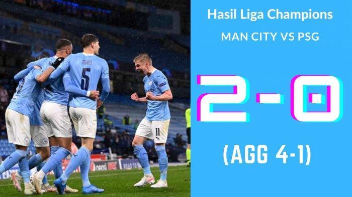 Hasil Skor Man City vs PSG: 2-0, Di Maria Kartu Merah, Mahrez Bawa Citizens ke Final Liga Champions