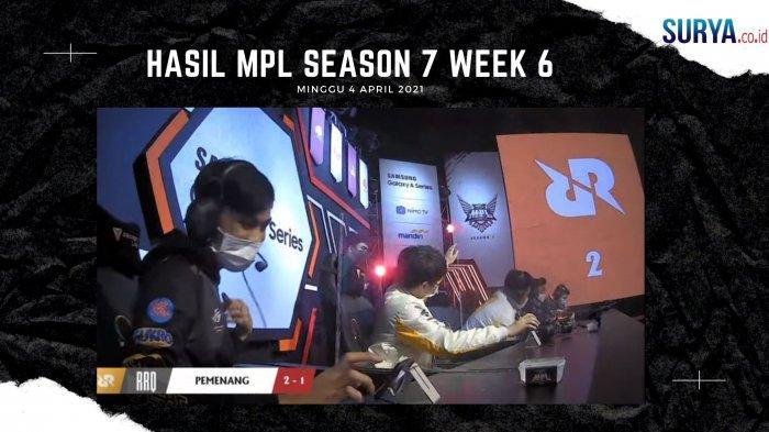 Hasil MPL Season 7 Week 6 RRQ Hoshi kalahkan Aura Fire