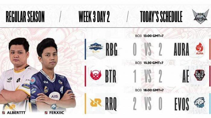 Hasil dan Klasemen MPL Season 8 Week 3: RRQ Hoshi Tekuk EVOS Legends, Alter Ego Masih Sempurna