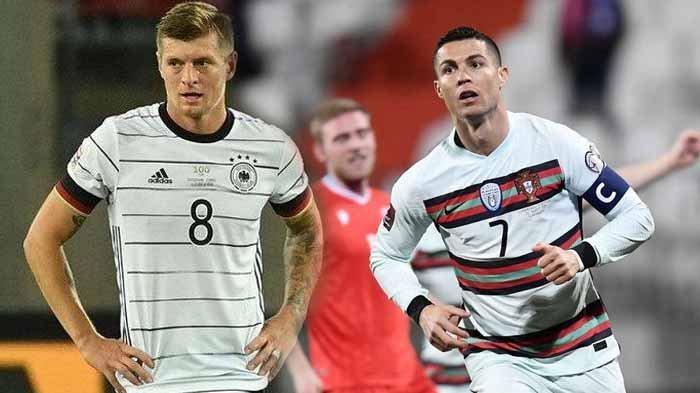 Pemain Timnas Jerman, Toni Kroos dan Cristiano Ronaldo. Berikut head to head Portugal vs Jerman dan fakta Cristiano Ronaldo kerap mandul saat berhadapan dengan De Panzer.