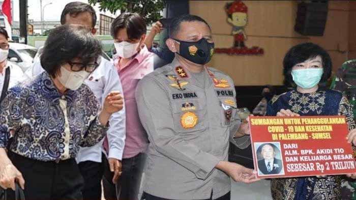 Heriyanti tiba di Mapolda Sumsel pukul 12.59 WIB dan langsung digiring masuk ke ruang Dir Ditkrimum Polda Sumsel dengan pengawalan sejumlah petugas. Foto kanan : Penyerahan bantuan dana Rp2 Triliun dari keluarga alm Akidi Tio, pengusaha asal Kota Langsa Kabupaten Aceh Timur untuk penanganan covid-19 di Sumsel, Senin (26/7/2021).
