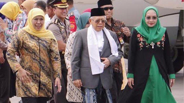 Gubernur Khofifah Bersama Forkopimda Jatim Sambut Wapres Maruf Amin di Bandara Juanda