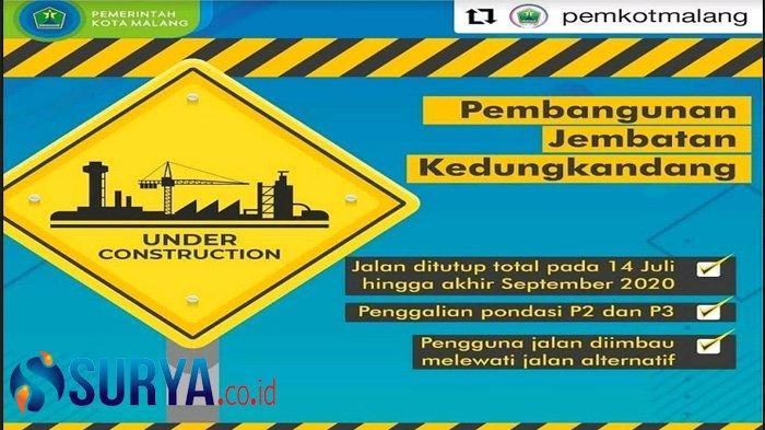 Proyek Jembatan Kedungkandang Diintensifkan, Akses Roda Dua Ditutup Total