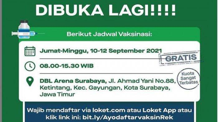 Info Vaksin di Surabaya 12 September 2021: Vaksinasi Covid-19 Dosis 1 & 2 di DBL Arena hingga KBS