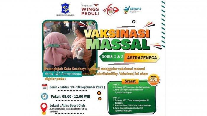 Info Vaksin di Surabaya 13 September 2021 AstraZeneca