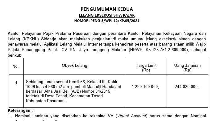 Pengumuman Kedua Lelang Eksekusi Sita Pajak Di Desa Tosari, Kecamatan Tosari Kabupaten Pasuruan
