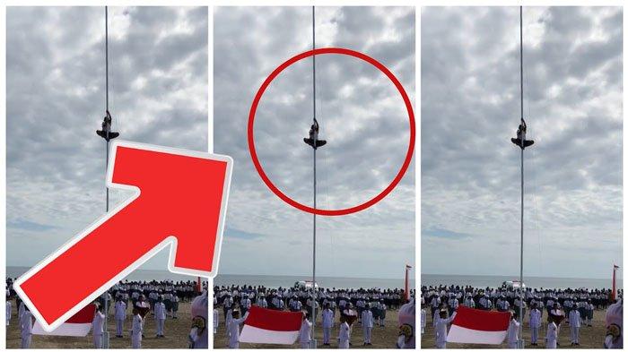 Detik-detik Anak Kecil Jadi Pahlawan Saat Tali Bendera Putus di Upacara Kemerdekaan 17 Agustus