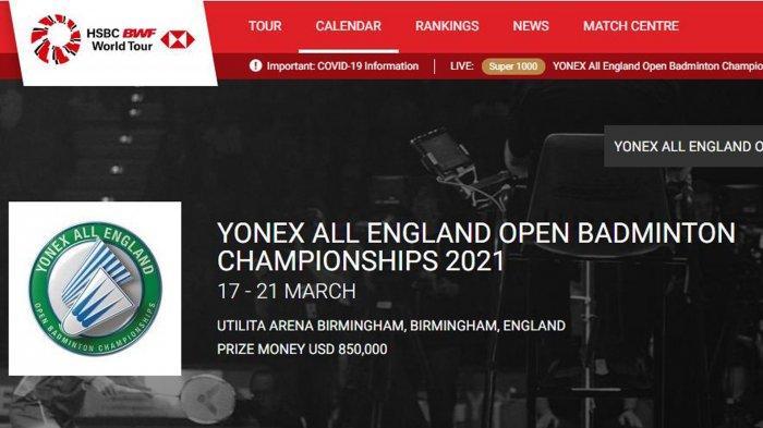 Jadwal Badminton All England 2021 Hari ini Sabtu 20 Maret, BWF Minta Maaf dan Ikut Frustasi