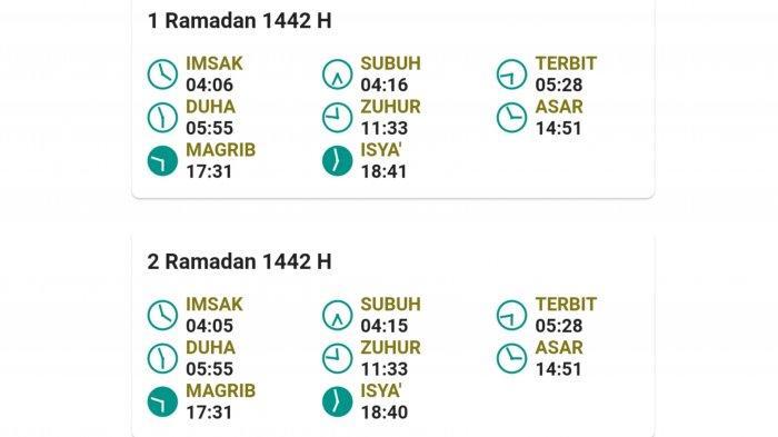 Jadwal Imsakiyah 1 - 2 Ramadan 1442 H