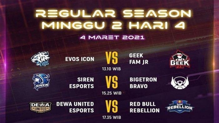 Jadwal MDL Season 3 Week 2 Hari Ini, Kamis 4 Maret 2021: EVOS vs Geek, Kans Ambil Posisi Puncak