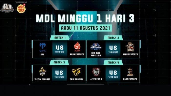 Jadwal MDL Season 4 Week 1 Hari Ini, Rabu 11 Agustus 2021: GPX Tantang Aura, Pabz Cari Poin Perdana