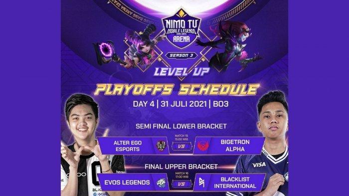 Jadwal Playoff NMA Season 3 Hari Ini, Sabtu 31 Juli 2021: EVOS Legends vs Blacklist, BTR Tantang AE