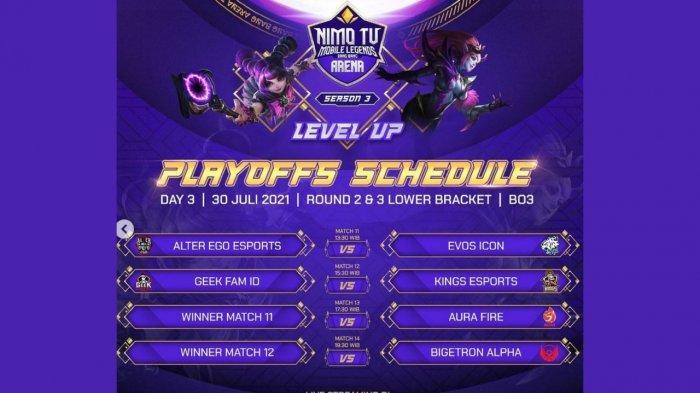 Jadwal Playoff NMA Season 3 Hari Ini, Jumat 30 Juli 2021: EVOS vs Alter Ego, Kings Tantang Geek Fam