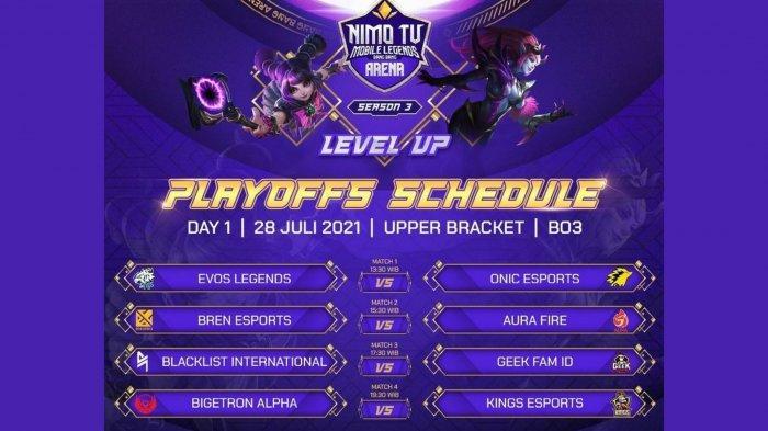 Jadwal Playoff NMA Season 3: EVOS Legends vs Onic Jadi Laga Pembuka, Bren & Blacklist International