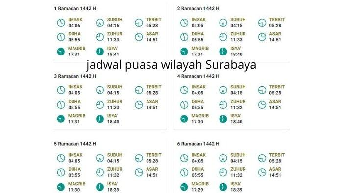 jadwal puasa 2021 wilayah Surabaya