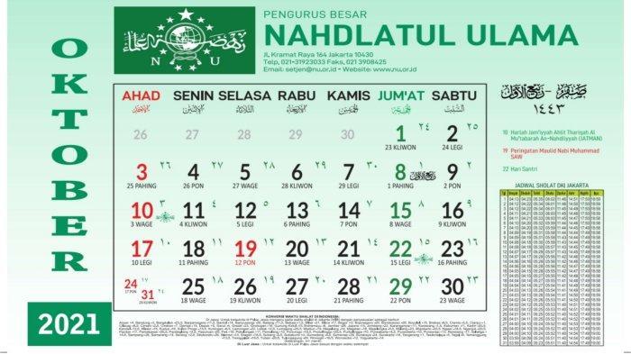 Kalender Bulan Oktober 2021