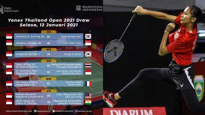 Jadwal Thailand Open 2021 Hari Ini 12 Januari 2021, 9 Pewakilan Indonesia Ikut Main