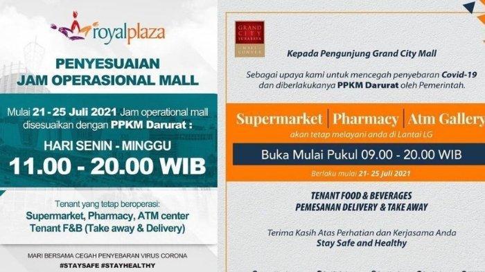 Perubahan Jam Buka Mall di Surabaya Selama PPKM Darurat 21-25 Juli 2021, Ini Daftar Toko yang Buka