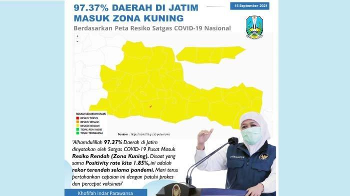 97,37 Persen Kabupaten/Kota di Jatim Zona Kuning, Khofifah: Terima Kasih Kerja Keras Semua Pihak
