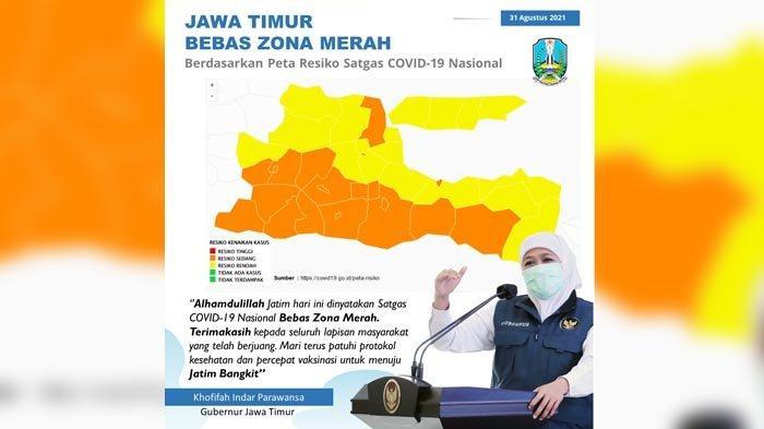 Saat ini Jatim Bebas Zona Merah Covid-19, Gubernur Khofifah Apresiasi Kerja Keras Semua Pihak