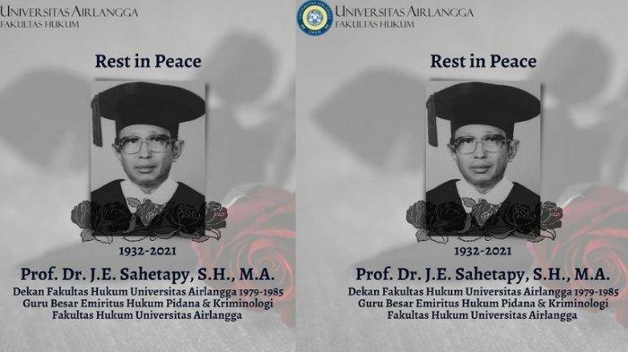 Biodata J.E Sahetapy Guru Besar FH Unair yang Meninggal Hari ini, Berikut Jejak Karier & Pendidikan