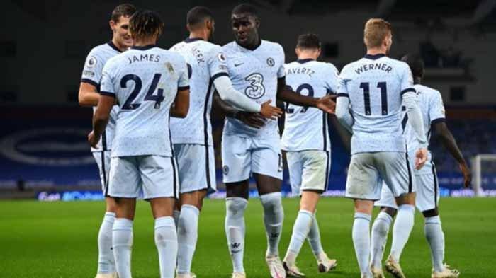 Pemain Chelsea saat merayakan gol di pertandingan kontra Brighton & Hove Albion di pekan pertama Liga Inggris 2020-2021.