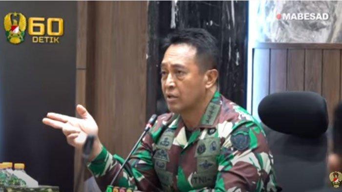 Jenderal Andika Perkasa saat menanggapi hasil investigasi insiden Helikopter MI-17