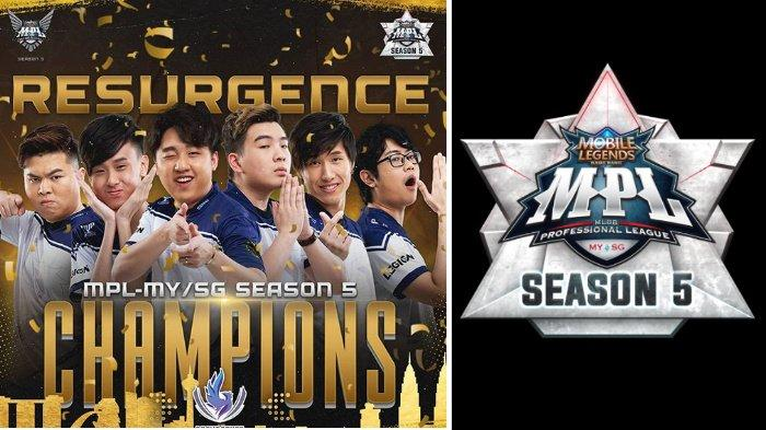 Resurgence Juara MPL Season 5 MY SG, Susul Evos Legends dan RRQ Hoshi Tampil di MSC 2020