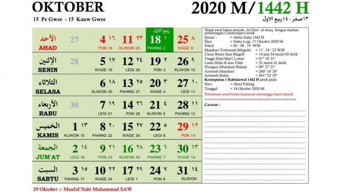 Kalender Oktober 2020