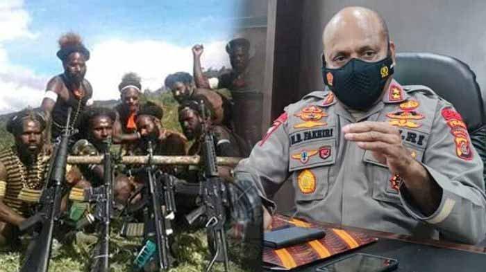 Gerombolan KKB Papua. Foto kanan Kapolda Papua, Irjen Mathius D Fakhiri. KKB Papua pimpinan Sabiner berulah menemk seorang guru hingga tewas, Kamis (8/4/2021).