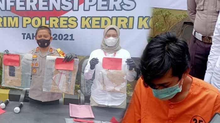 Kapolres Kediri Kota, AKBP Eko Prasetyo menunjukkan barang bukti yang dipakai pelaku membunuh gadis Bandung, Jumat (5/3/2021). Foto kanan : pembunuh gadis Bandung berinisial M yang diduga menjadi PSK online, Refi Purnomo.